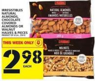 Irresistibles Natural Almonds - Chocolate Covered Almonds Or Walnut Halves & Pieces