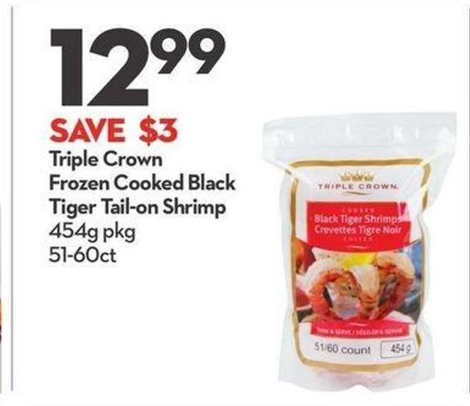 Triple Crown Frozen Cooked Black Tiger Tail-on Shrimp