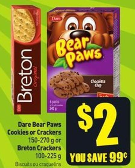 Dare Bear Paws Cookies or Crackers 150-270 g or Breton Crackers 100-225 g