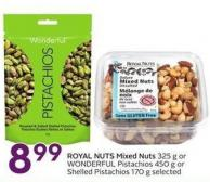 Royal Nuts Mixed Nuts 325 g or Wonderful Pistachios 450 g or Shelled Pistachios 170 g Selected