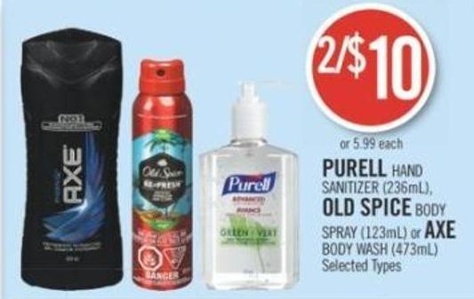 Purell Hand Sanitizer (236ml) - Old Spice Body Spray (123ml) or Axe Body Wash (473ml)