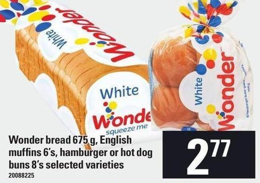 Wonder Bread 675 G - English Muffins 6's - Hamburger Or Hot Dog Buns 8's