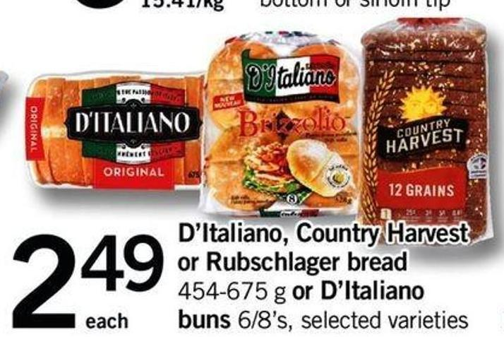 D'italiano - Country Harvest Or Rubschlager Bread - 454-675 G Or D'italiano Buns - 6/8's