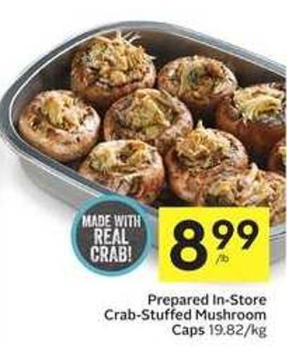 Prepared In-store Crab-stuffed Mushroom Caps