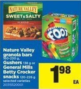 Nature Valley Granola Bars - 160-230 G - Gushers - 138 G Or General Mills Betty Crocker Snacks - 120-226 G
