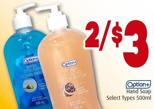 Option+ Hand Soap Select Types 500ml
