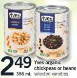 Yves Organic Chickpeas Or Beans - 398 Ml