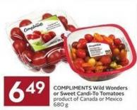 Compliments Wild Wonders or Sweet Candi-to Tomatoes Product of Canada or Mexico 680 g