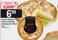 Farmer's Market Lemon Or Key Lime Meringue Pie 10 Inch 1 Kg
