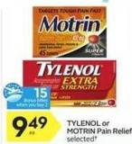 Tylenol or Motrin Pain Relief - 15 Air Miles Bonus Miles