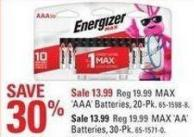 Energizer Max 'Aaa' Batteries - 20-pk