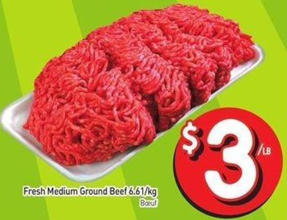 Fresh Medium Ground Beef 6.61/kg
