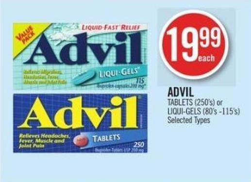 Advil Tablets (250's) or Liqui-gels (80's -115's)