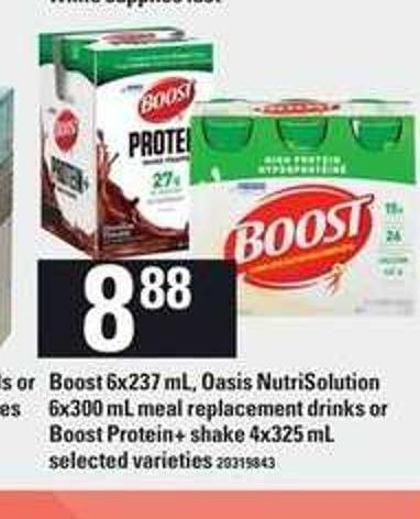 Boost - 6x237 Ml Oasis Nutrisolution - 6x300 Ml Meal Replacement Drinks Or Boost Protein+ Shake - 4x325 Ml