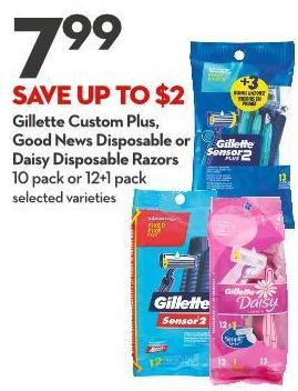 Gillette Custom Plus - Good News Disposable or Daisy Disposable Razors 10 Pack or 12+1 Pack