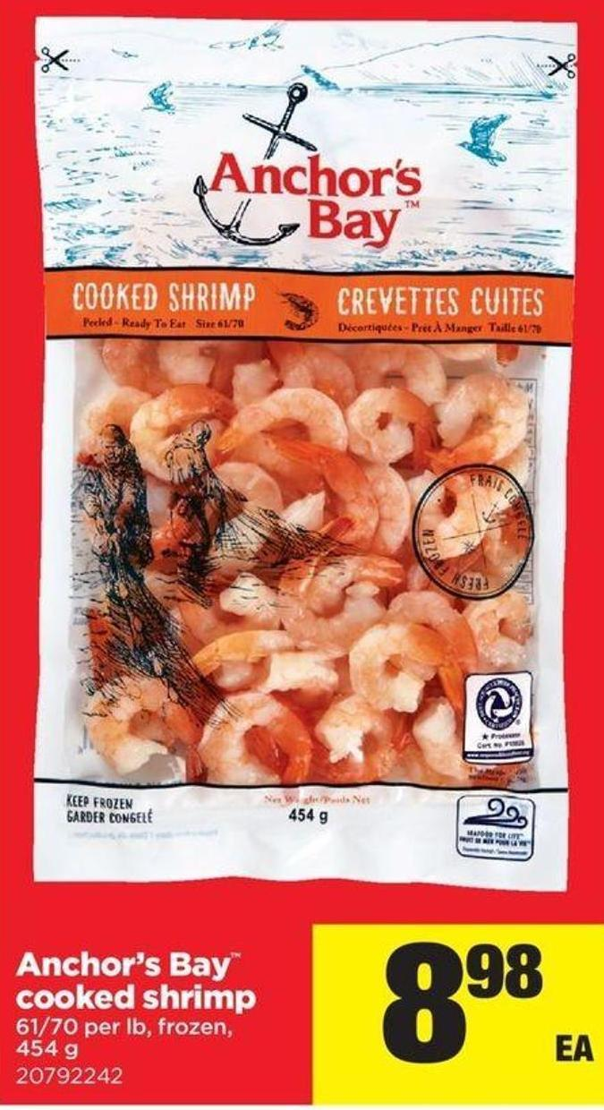 Anchor's Bay Cooked Shrimp - 61/70 Per Lb - 454 g