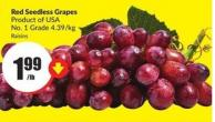 Red Seedless Grapes - Product of USA No.1 Grade 4.39/kg