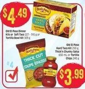 Old El Paso Dinner Kits or Soft Taco 227 - 510 g or Tortilla Bowl Kit 309 g