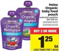 Heinz Organic Baby Food Pouch - 90/128 mL