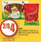 Lindt Gold Bunny & Eggs (3's) or Mini Eggs (100g) Chocolate