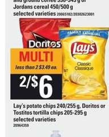 Lay's Potato Chips - 240/255 g - Doritos Or Tostitos Tortilla Chips - 205-295 g