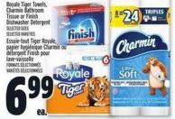 Royale Tiger Towels - Charmin Bathroom Tissue Or Finish Dishwasher Detergent