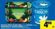 Danone Oikos Greek Tubs - 750 G - Activia - 12x100 G - Danactive Or Activia Drinks - 8x93 Ml