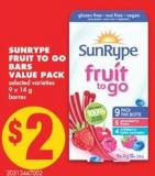 Sunrype Fruit To Go Bars Value Pack - 9 X 14 g