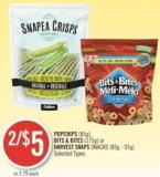 Popchips (85g) - Bits & Bites (175g) or Harvest Snaps Snacks (85g - 93g)