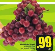 Red Seedless Grapes Product of USA No. 1 Grade 2.18/kg