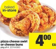 Pizza Cheese Swirl Or Cheese Buns - Pkg of 4