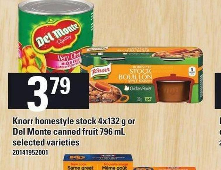 Knorr Homestyle Stock 4x132 G Or Del Monte Canned Fruit 796 Ml