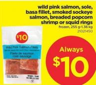 Wild Pink Salmon - Sole - Basa Fillet - Smoked Sockeye Salmon - Breaded Popcorn Shrimp Or Squid Rings - 255 G-1.36 Kg