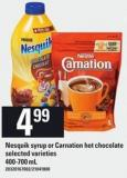 Nesquik Syrup Or Carnation Hot Chocolate - 400-700 mL