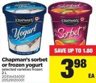 Chapman's Sorbet Or Frozen Yogurt - 2 L