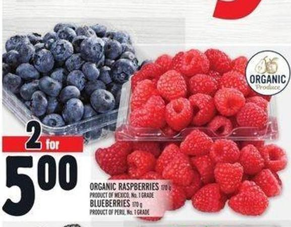 Organic Raspberries 170 g Product Of Mexico - No. 1 Grade Blueberries 170 g Product Of Peru - No. 1 Grade