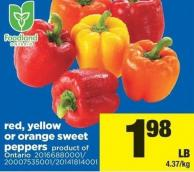 Red - Yellow Or Orange Sweet Peppers