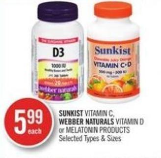 Sunkist Vitamin C - Webber Naturals Vitamin D Or Melationin Products