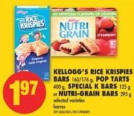 Kellogg's Rice Krispies Bars - 160/176 g - Pop Tarts - 400 g - Special K Bars - 125 g or Nutri-grain Bars - 295 g