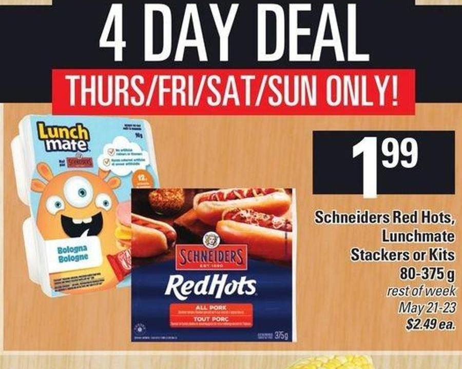 Schneiders Red Hots - Lunchmate Stackers Or Kits 80-375 G