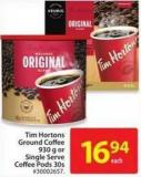 Tim Hortons Ground Coffee 930 g or Single Serve Coffee Pods 30s