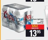Coors Light Beer Cans - 6x473 Ml