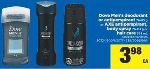 Dove Men's Deodorant Or Antiperspirant 76/85 G Or Axe Antiperspirant - Body Spray 76-113 G Or Hair Care 355 Ml