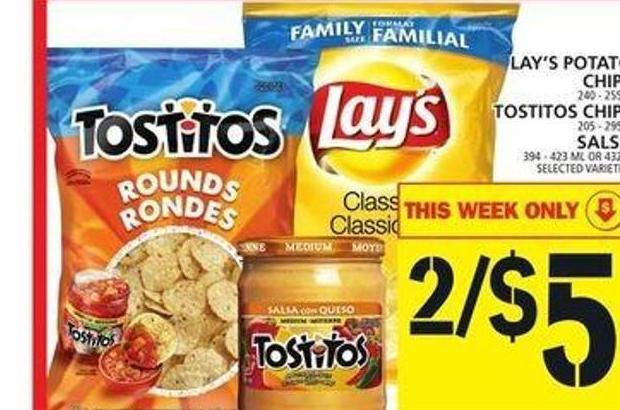 Lay's Potato Chips Or Tostitos Chips Or Salsa