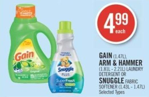 Gain (1.47l) - Arm & Hammer (1.81l - 2.21l) Laundry Detergent Or Snuggle Fabric Softener (1.43l - 1.47l)