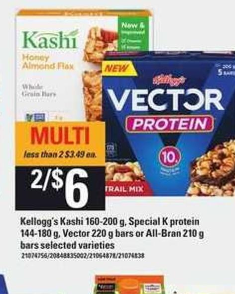 Kellogg's Kashi - 160-200 g - Special K Protein - 144-180 g - Vector - 220 g Bars Or All-bran - 210 g Bars