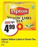 Lipton Yellow Label or Green Tea 100 Pk