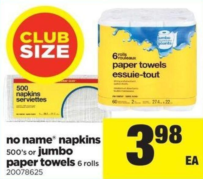 No Name Napkins - 500's Or Jumbo Paper Towels - 6 Rolls