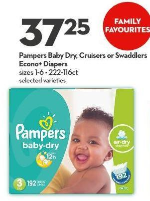 Pampers Baby Dry - Cruisers or Swaddlers Econo+ Diapers Sizes 1-6  222-116ct