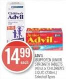 Advil Ibuprofen Junior Strength Tablets (40's) or Children's Liquid (230ml)